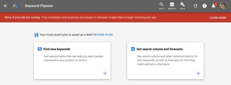 The Google Adwords keyword planner tool