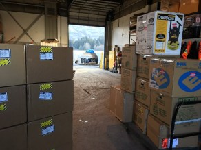 The boxes of remains transported from Anchorage to the Kodiak state airport. The ancestral remains are packed within many different layers, including various boxes, for safety. Kayla Desroches/KMXT