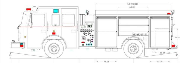 A schematic of a Spartan Motors pumper truck.