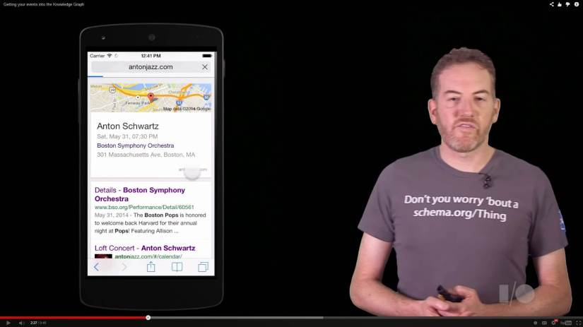 YOU GUYS!Google leaks iOS on Nexus 5 in new video.Totally happening. RIP Android.(from thisGetting your events into the Knowledge Graph)