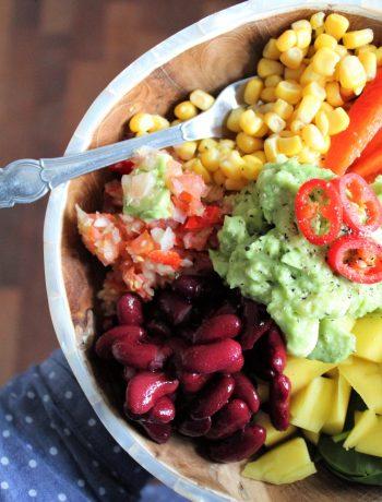 Mexi bowl med kidneybønner, salsa og guacamole