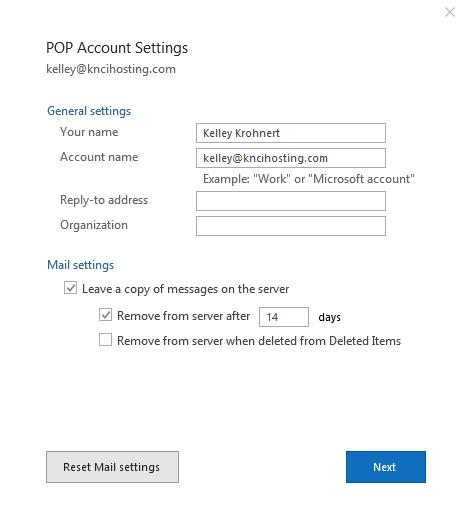 Outlook 2016 POP account settings window