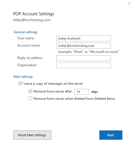 Outlook 2016 POP account settings window
