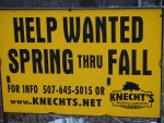 Sign advertising that Knecht's Nurseries & Landscaping is hiring!