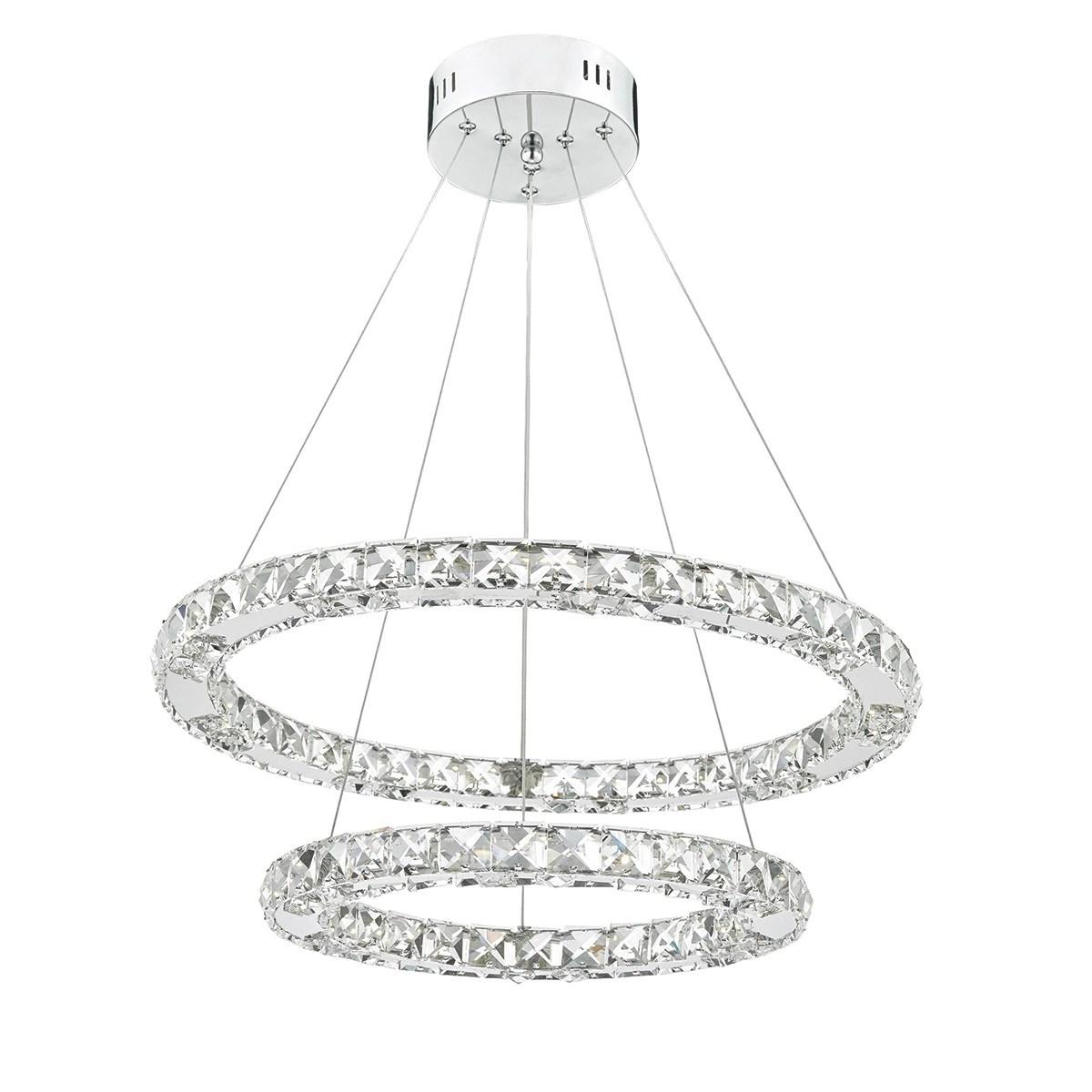 Dar Lighting Roma Led Pendant Crystal With Chrome Knees