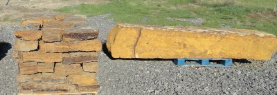 Okie Gold - Offered in Web Wall (shown on left), Random Beams (shown on Right) or Outcroppings