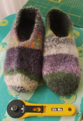 Knit Felted Slippers after washing