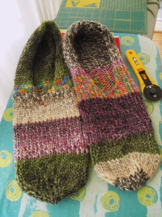knit felted slippers before shrinking in the washing machine