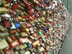 Lovers put a padlock (sometimes with an engraving) on the bridge fence - to bear witness to the eternal love of these couples. The keys are thrown in the Rhine River below... you can find there more than 40.000 padlocks now
