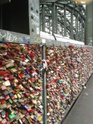 "another sight of Cologne - a bridge-fence covered with ""Love-padlocks"""