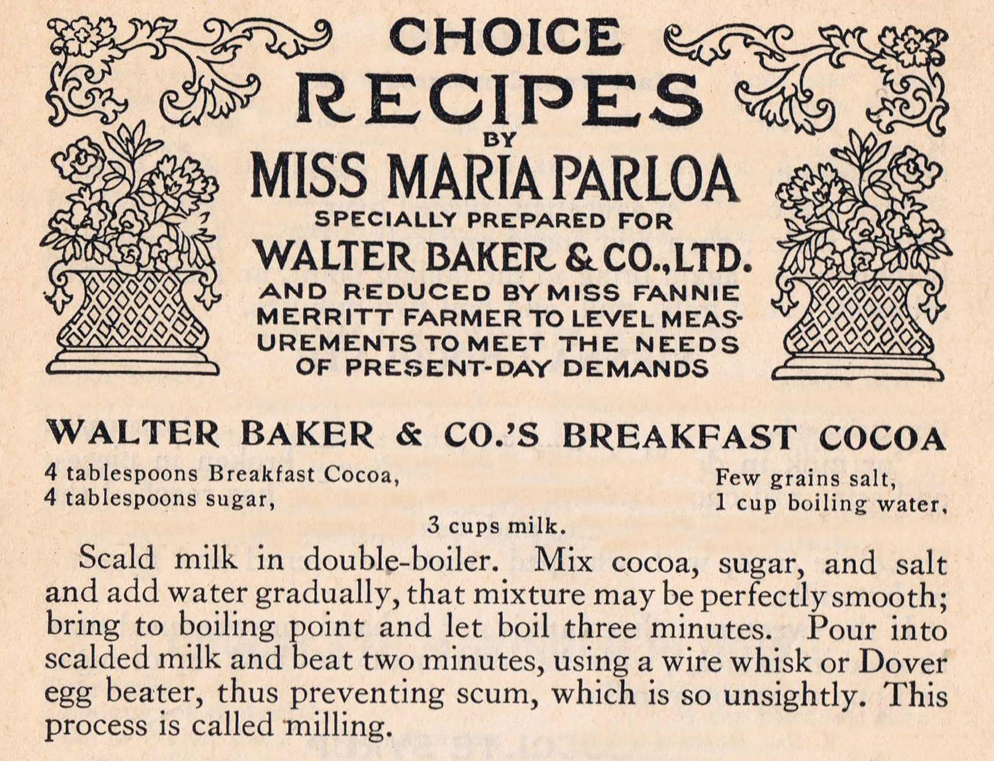 Antique Recipe Card Printable Bakers Breakfast Cocoa