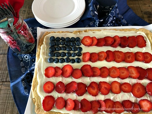 Flag Fruit Sugar Cookie Pizza - Walking on Sunshine