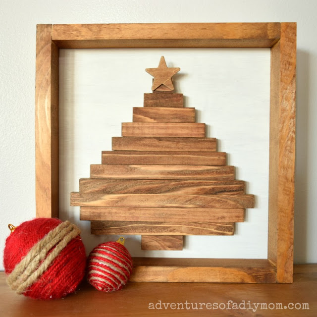 DIY Wood Christmas Tree Shadow Box Sign by Adventures of a DIY Mom