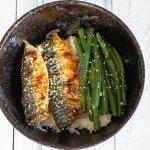grilled mackerel rice bowl
