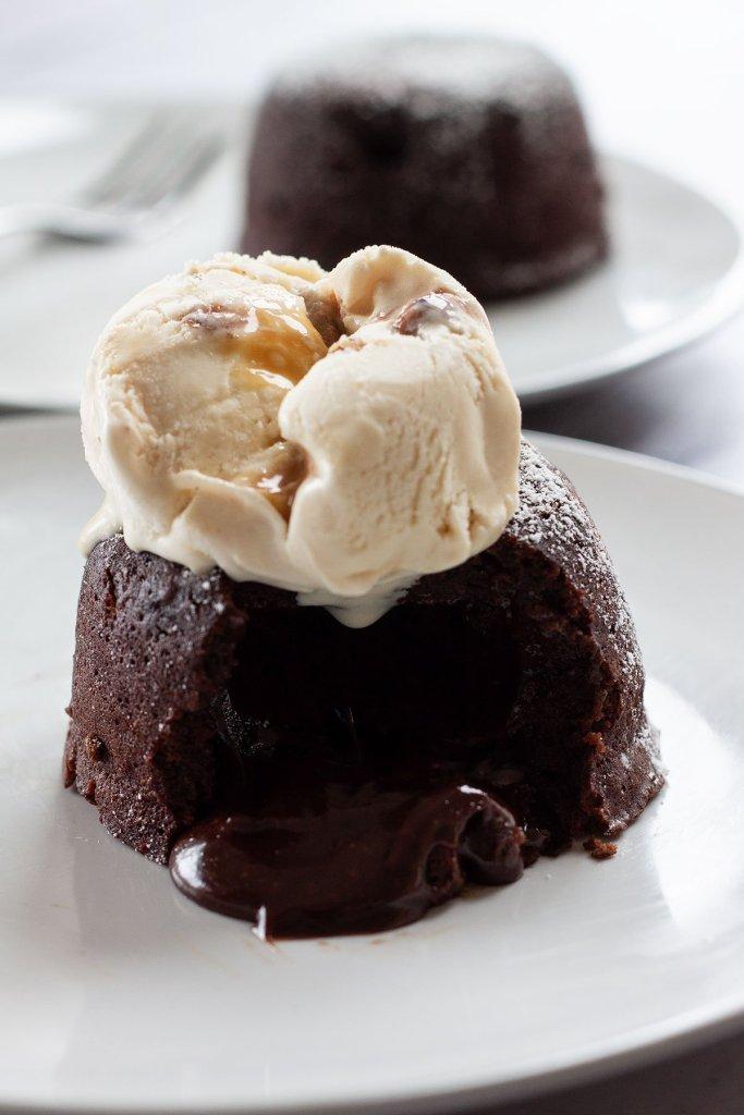 easy chocolate lava cake with ice cream