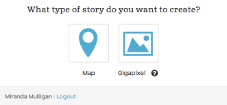 When creating a new StoryMap, you can choose the gigapixel option.