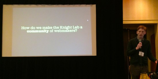 Tyler Fisher explains how the Lab's student fellow community has been growing to the NICAR 2014 lightning talk crowd.