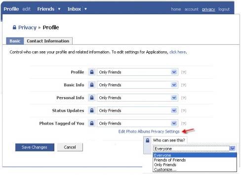 The old Facebook privacy settings page.