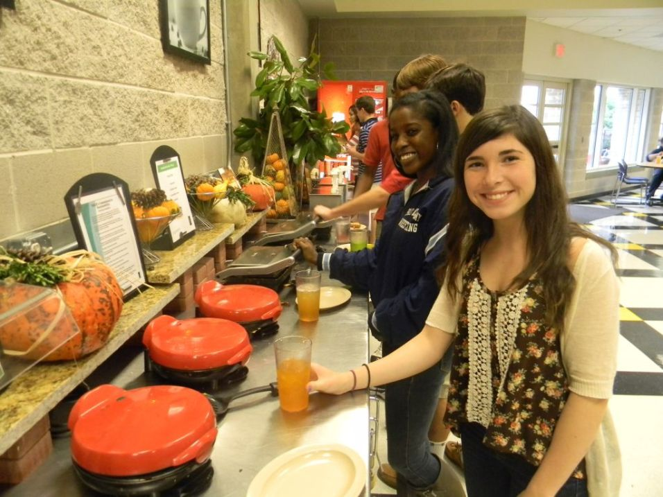 Sophomores Symone Sommerville and Maddie Wanzer love making paninis for lunch