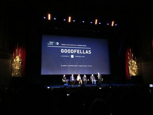 From left to right: Nicholas Pileggi (co-writer of the film), Ray Liotta, Lorraine Bracco, Robert De Niro, Paul Sorvino, and Jon Stewart (the panel moderator)