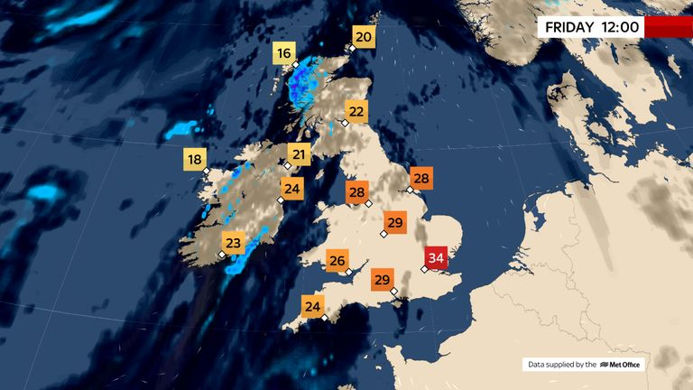 Temperatures could rise above 37C today – with stifling heat to continue throughout the weekend
