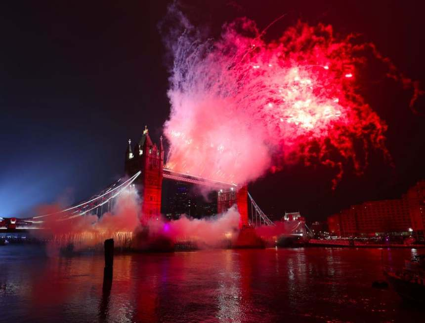 London welcomes New Year with dazzling fireworks and light show – but celebrations muted by Covid measures