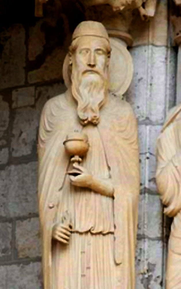 Melchizedek holding Alchemy Stone Grail, Chartres cathedral, Gate of the Initiates