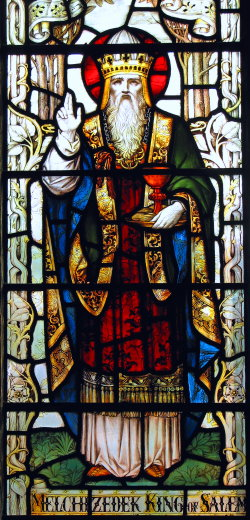 Melchizedek stained glass, labeled 'King of Salem', St Michael's Church, North Gate, Oxford