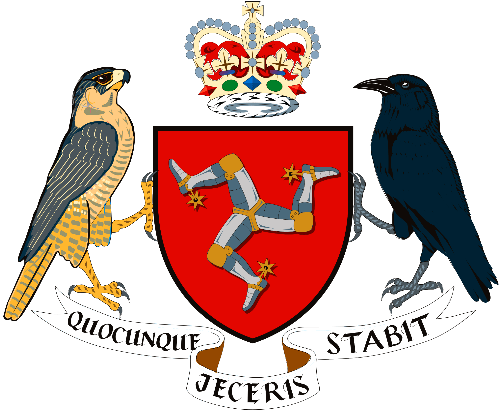 Isle of Man official '3-legged' heraldry, labeled 'Whichever Way You Throw It, It Stands' in Latin