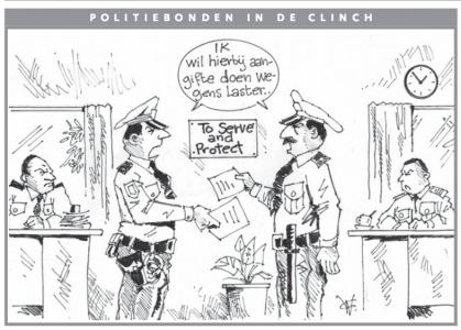 AD cartoon  Politiebonden in de clinch