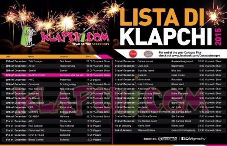 De complete Curaçao Klapchi Pagara lijst van 2015 ook uitprintbaar in PDF bijlage