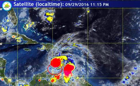 Volgens Meteoroloog Yogi Coffie zorgt Matthew vooral voor wateroverlast - foto: Meteo Curaçao