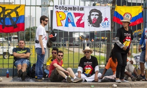 Fans wait outside venue where the Rolling Stones will play a free concert in Havana, Cuba, on Friday. Photograph: Desmond Boylan/AP