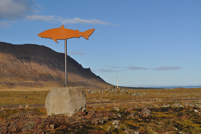 Roadside sign guiding visitors to Bjarnahöfn. Photo by James P. Leary
