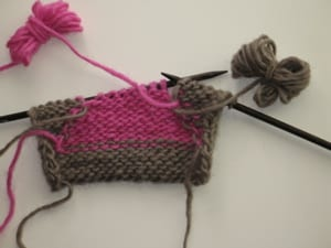 Back of knitting Intarsia with two bobbins