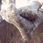 Toe-Up Faux Heel-Flap Socks, shown over log