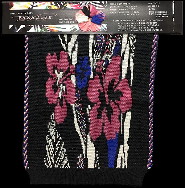 "Designer:Jamie Boyoon Lee-knitGrandeur: FIT & Filati Biagioli and Baruffa Collaboration 2017: Double Jacquard Project Featuring Biagioli ""Cash 30"""