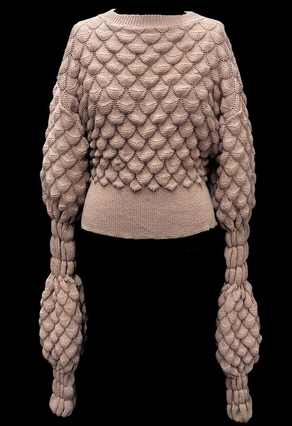 Designer: Loucine Tahmasian- knitGrandeur: FIT & Biagioli Modesto Collaboration 2018: Term Garment Project Featuring Cash 30
