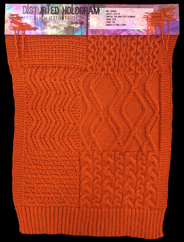 Designer: EuiJung Jung- knitGrandeur: FIT & Biagioli Collaboration 2019: Linear Stitch Design Project