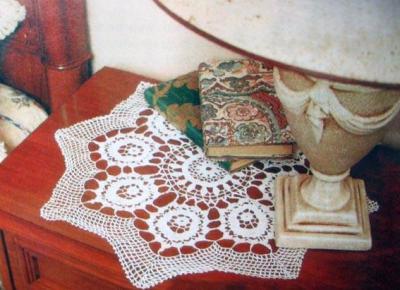Салфетка с розами вязаная крючком