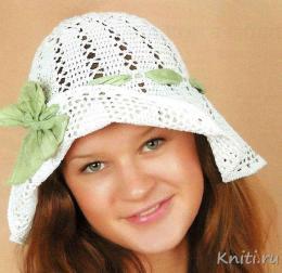 Летняя шляпка с широкими полями крючком!
