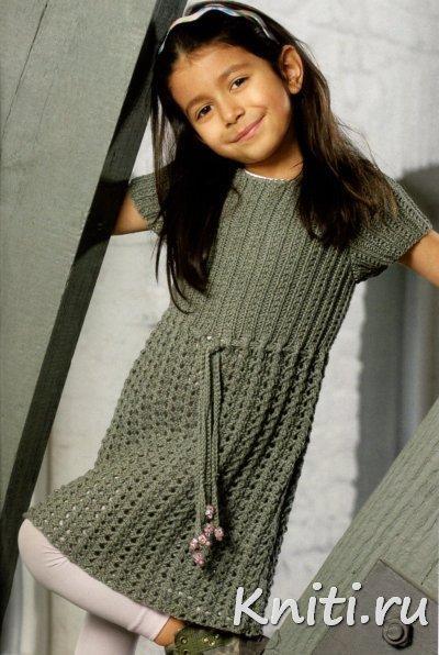 Серое платье-туника для девочки