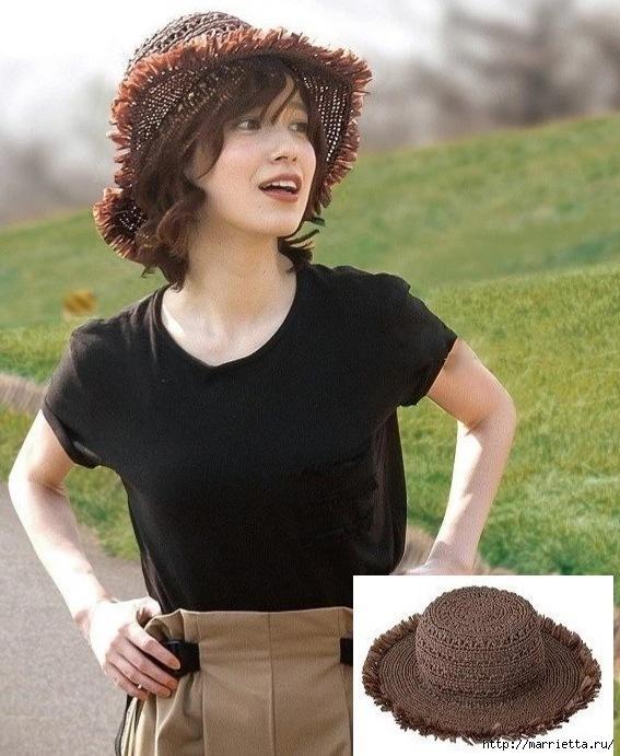 Летняя шляпка крючком. Схема вязания (2) (567x691, 245Kb)
