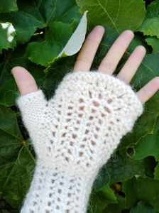Close up of fingerless mitten