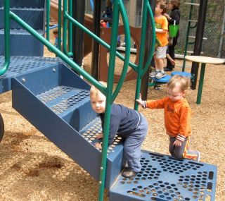 Babies climbing--blue shirt on my grandson