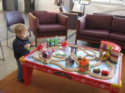 Logan and Little train set