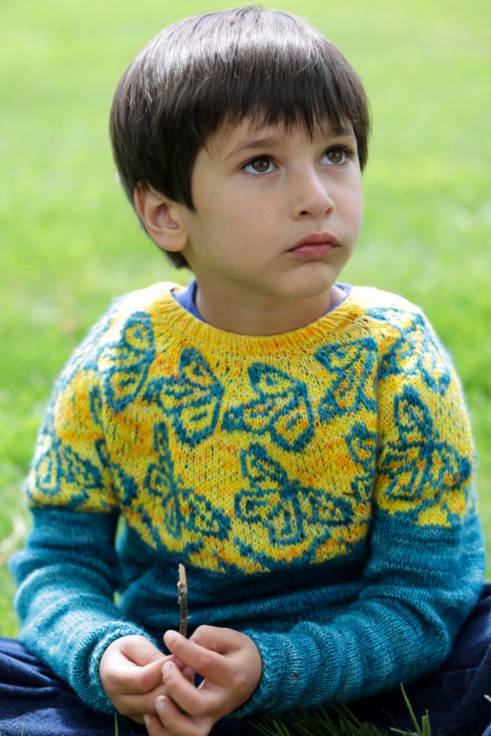 Closeup of a boy wearing a hand knit sweater that is teal and yellow-orange and features butterfly motifs
