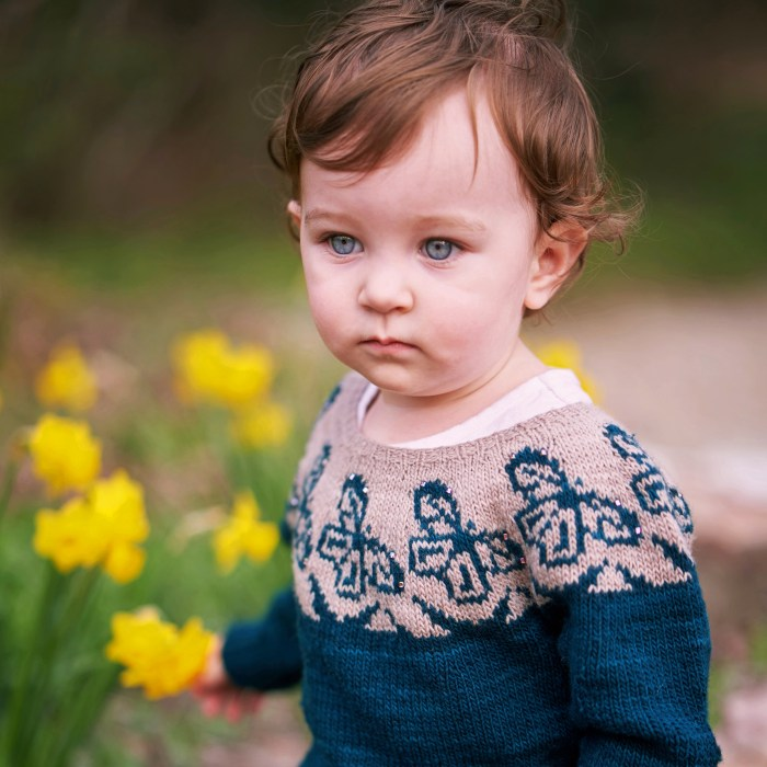 A baby with blue eyes is wearing a teal and gray hand knit sweater with butterfly motifs in the yoke.