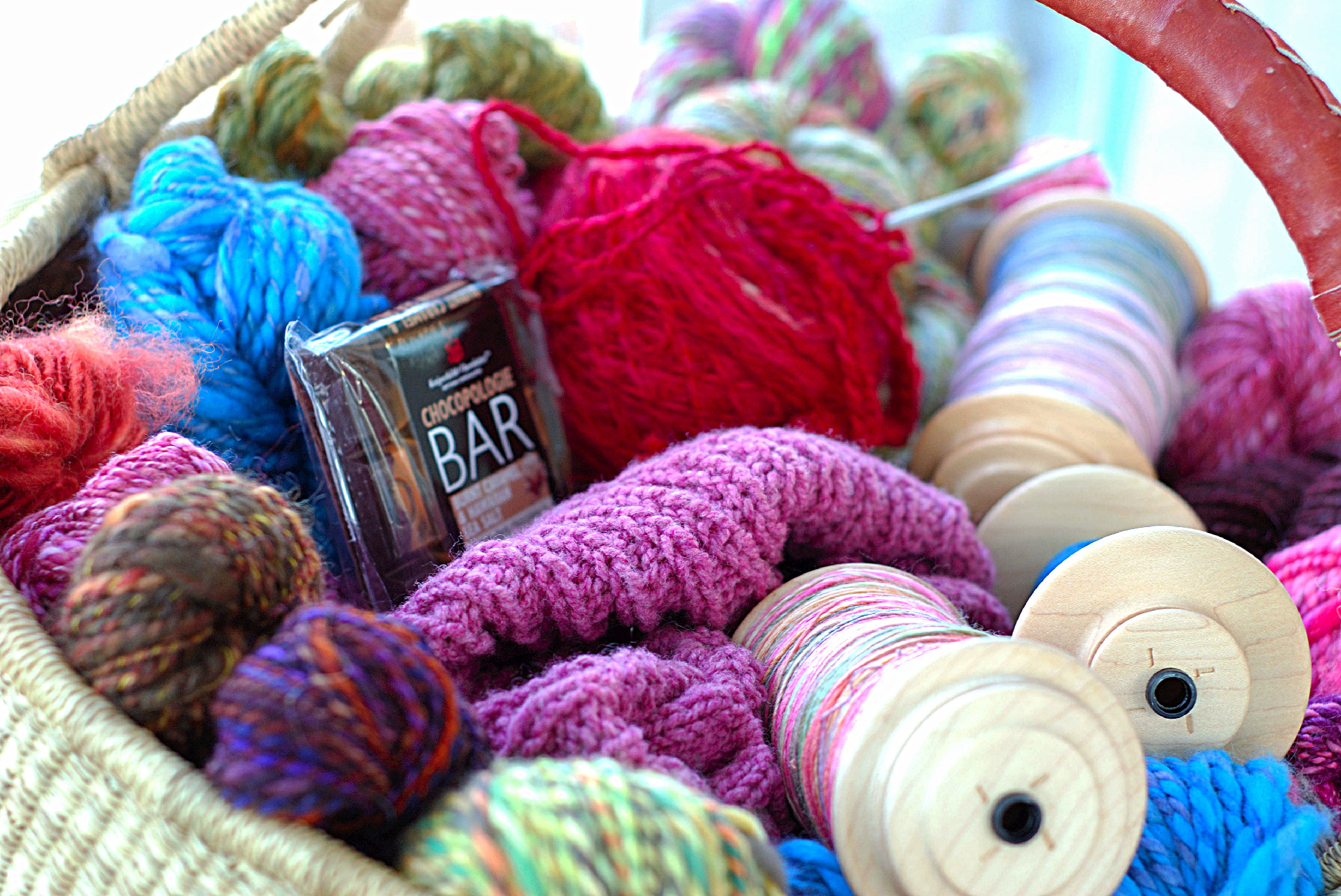 There is everything a knitter need in here - yarn & chocolate!