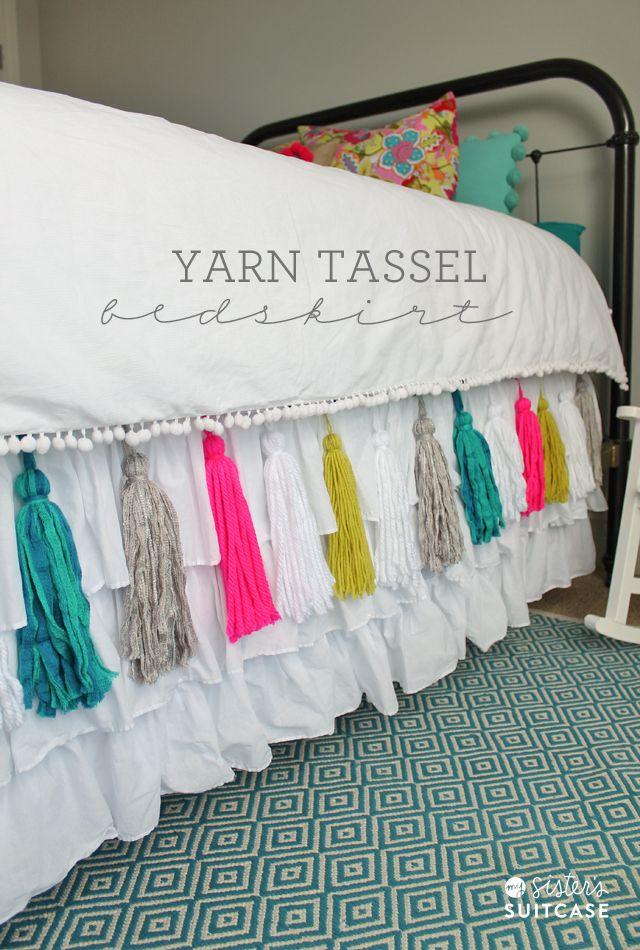 Pin Ups: DIY Yarn Tassel Bedskirt | knittedbliss.com